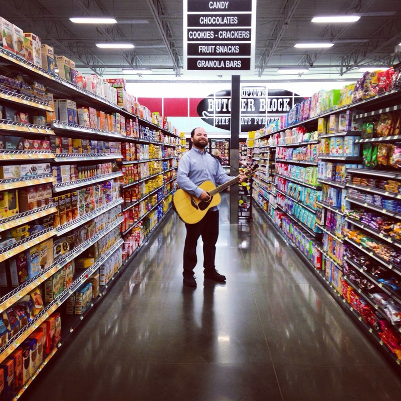 Casey Friedman, Oklahoma, musician, guitar, acoustic, Buy for Less, Grocery store, candy aisle, Casey & Minna, casey and minna
