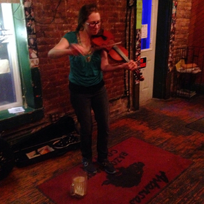 Minna Biggs, fiddle, Chelsea's Corner Cafe, Eureka Springs, Arkansas, Casey and Minna, music