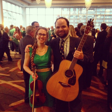 casey and minna, st. louis ballpark hilton, fiddle, guitar, strolling musicians, st. patricks