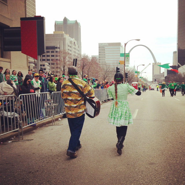 casey and minna, st. louis st. patricks day parade, 2015